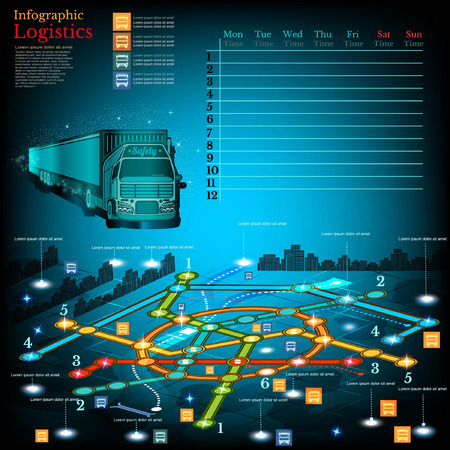 simbols: Logistics infographic with lines of delivery on city map. Topography simbols, timetable on week and othe info
