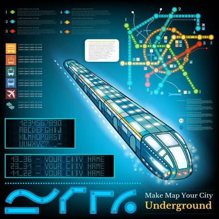 estacion de tren: Infografía metro con las líneas de muestra de metro y mapa. Números de cartas de presentación estación de Muestra Vectores