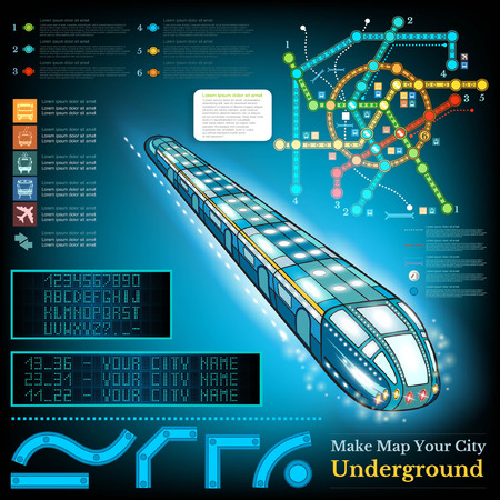 subway train: Underground infographic with sample lines of metro and map. Sample station display letters numbers Illustration