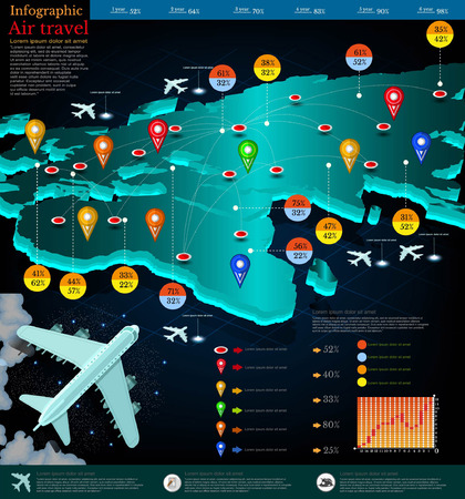 intermediate: flight map of planes with point destination. Part of world map Africa Europe.