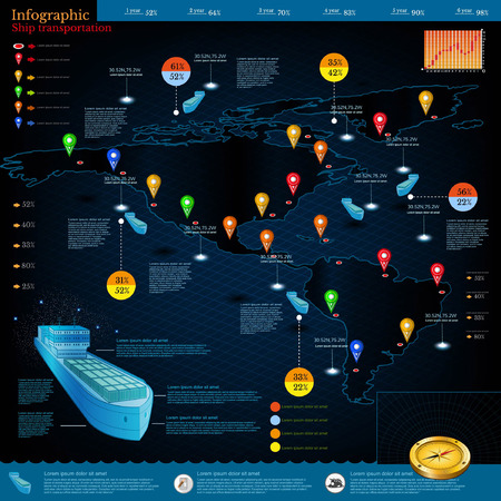 seaport: Logistics infographic of cargo ships with route of delivery.Part of world map America.