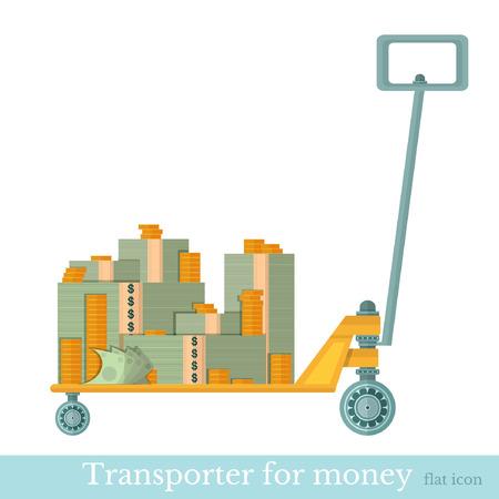 transporter: flat transporter for money on white