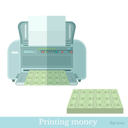 enriched: Printer print paper of money. Business concept flat icon Illustration