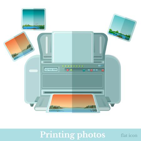 Flat photo printer with photoe icon isolated on white