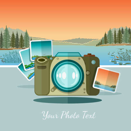 pix: ftat icon camera with photo on landscape background with forest river and mountains Illustration