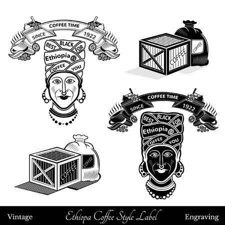 turban: cup and coffee mill under the ribbon template for text. black woman with turban best ethiopia coffee lettering. Coffee style silhouette black and white