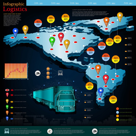 Logistic infographic. Map of America and Mexico with different info. Datas and plans of truck and delivery etc.