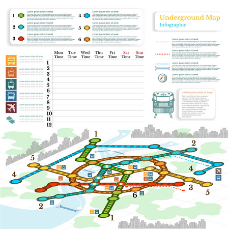tramcar: underground infographic with lines of metro on city map. Topography simbols, timetable on week and othe info