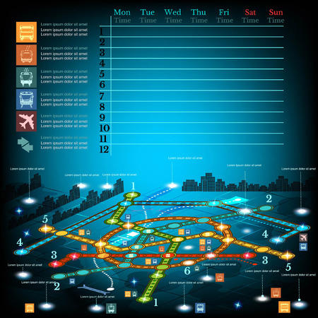 trackless: underground infographic with lines of metro on city map. Topography simbols, timetable on week and othe info