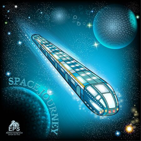 stary: flying space train with stary sky background Illustration