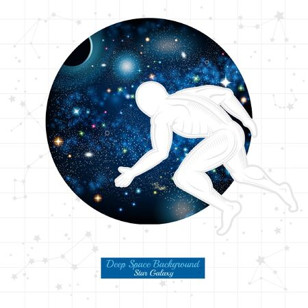 telamon: Atlant move round space with starry sky on white background with constellation