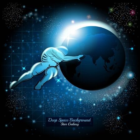 Atlant pushing Night Earth in space with starry sky background