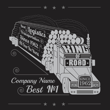 timber: silhouette of truck with trailer of logs or timber and lettering king of road