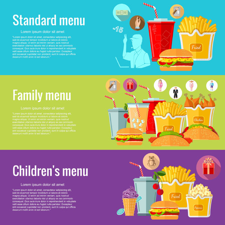chain food: Flat design concepts for fast food. standart menu; family menu; childrens menu. Concepts for web banners and promotional materials Illustration