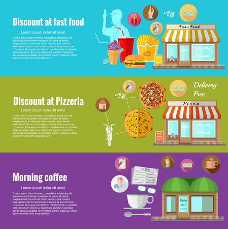 food icons: Flat design concepts for discount in fast food. discount at fast food; discount at pizzeria; morning coffee. Concepts for web banners and promotional materials