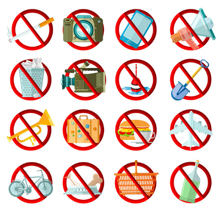 rubbish cart: big set of bans in red circle
