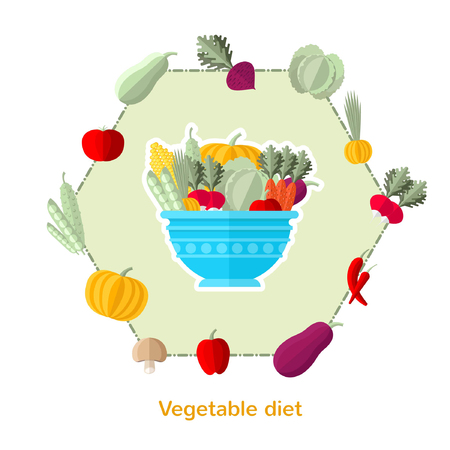 weightloss plan: flat illustration vegetable diet. Dish with different vegetables and others around isolated on white