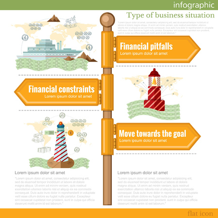road sign infographic with different types of business situation. Financial pitfalls. Financial constraints. Move towards the goal Vectores
