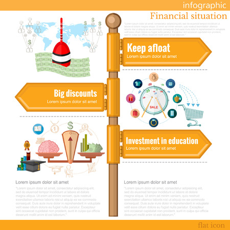 keep in: road sign infographic with different types of financial situation. Keep afloat. Big discounts. Investment in education