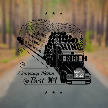 tk: Engraving face of silhouette of truck with trailer of logs or timber and lettering king of road