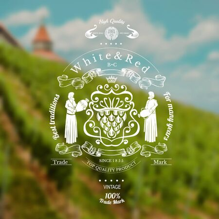 wine label with grapes in centre and woman on the sides on blurred realistic background