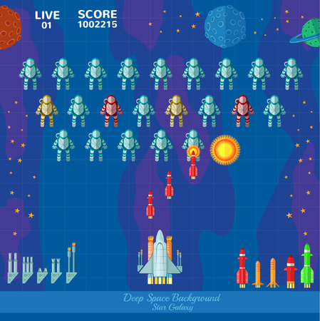 astronauts: Game space background. Spaceship shoot astronauts Illustration