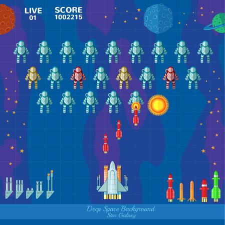 meteorites: Game space background. Spaceship shoot astronauts Illustration