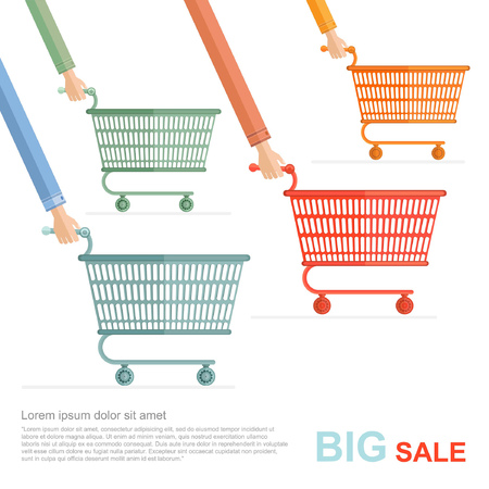 perforate: big sale flat illustration. racing on shopping perforated carts isolated on white Illustration