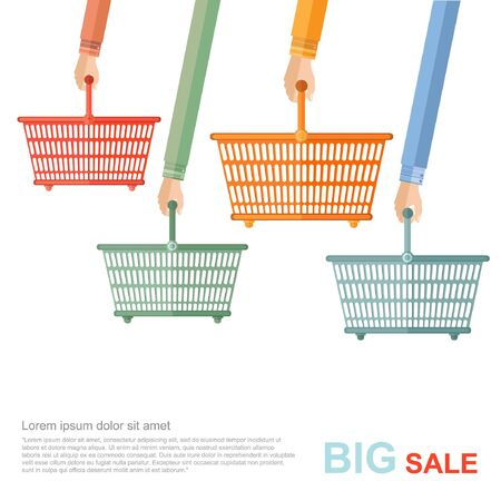 perforate: big sale flat illustration. hands hold of perforated shopping baskets isolated on white