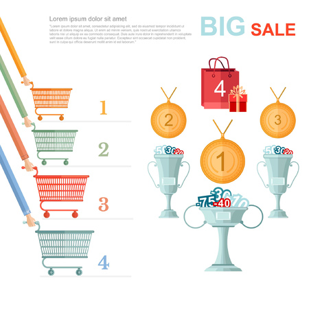 big sale flat illustration. competition racing on perforated shopping carts for disconts isolated on white Illustration