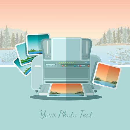 ftat icon printer with photo on landscape background with forest river and mountains Ilustração