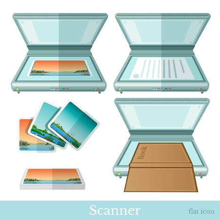 scan paper: flat scanner make scan from paper book picture icon on white