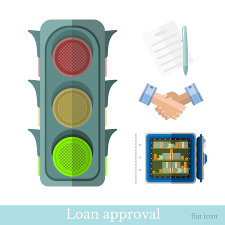 providing: flat concept business illustration. providing a credit or loan approval