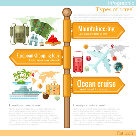 turism: road sign infographic with different types of turism and vacation