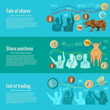 Conceptos de diseño planas para hábil bursátil. venta de acciones; compra de acciones; final de la negociación. Conceptos para web banners y materiales promocionales