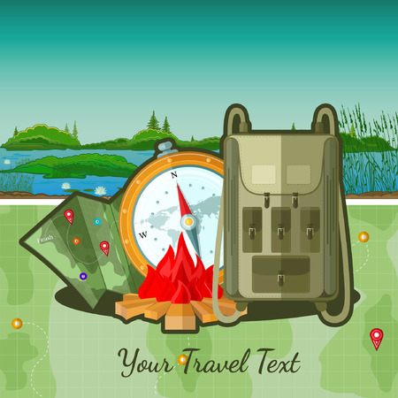 travel bag: flat travel background with tourists accessories on river landscape