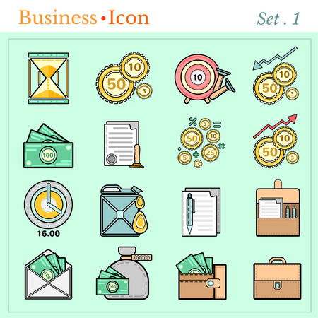 augmentation: set line icons with flat design elements of business and finance