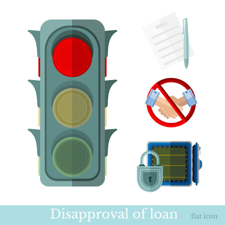 augmentation: flat concept business illustration. disapproval of loan or not a loan