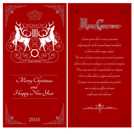 curle: Two sides of christmas red postcard. Two white deers against one another with swirl pattern on caver