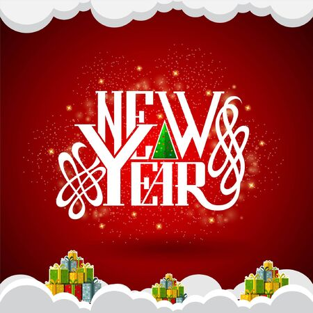 snowdrifts: new year lettering in the center on red background with gift boxes in snowdrifts