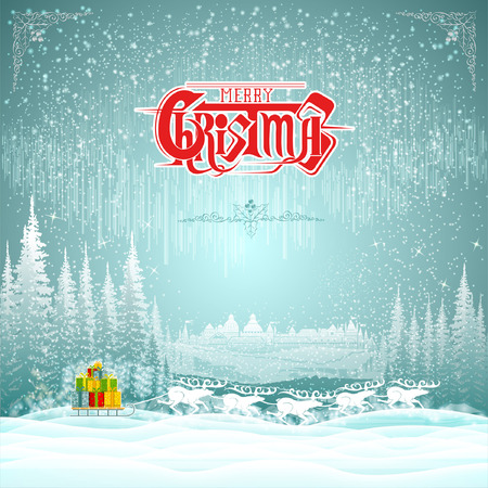 harness: harness of deers with sledge of present boxes on winter landscape christmas background Illustration