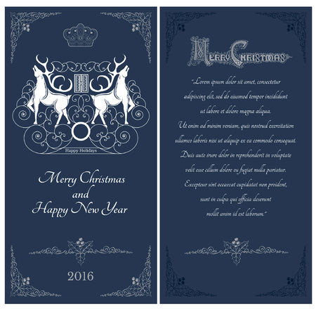 curle: Two sides of christmas blue postcard. Two white deers against one another with swirl pattern on caver