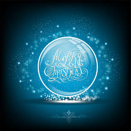snow globe: Snow globe with calligraphic merry christmas on blue background