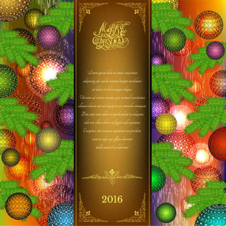 tri fold: merry christmas tri fold with christmas balls and fir tree elements on color background Illustration
