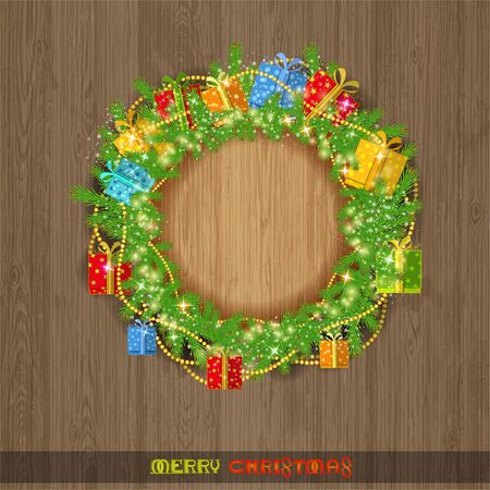bead: christmas wreath with fir present boxes and bead on vintage wood background Illustration