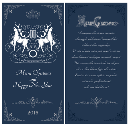 curle: Two sides of christmas blue postcard. Two white deers against one another
