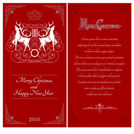 sides: two sides of christmas red postcard. Two white deers against one another