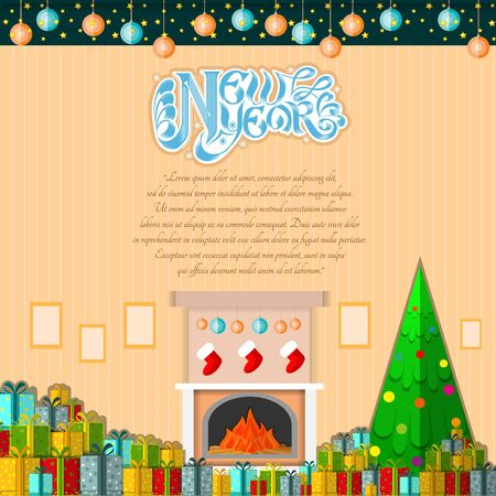 christmas room: new year lettering on cartoon room background with present boxes and christmas tree Illustration