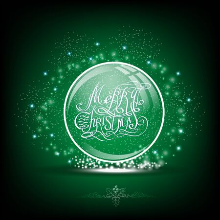snow globe: Snow globe with calligraphic merry christmas on green background