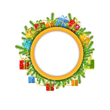 bead: christmas wreath with fir present boxes and bead isolated on white